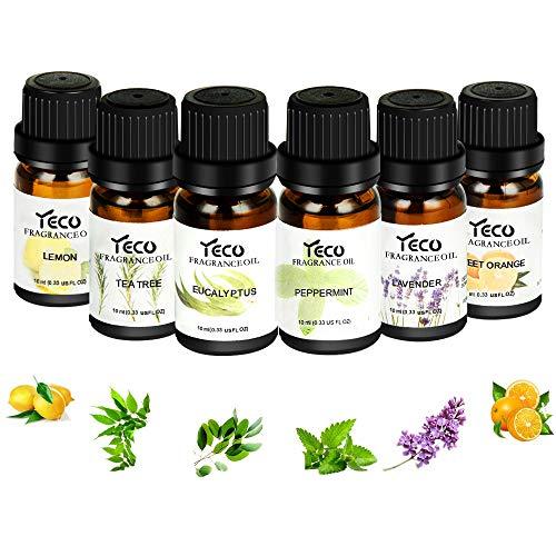 Huiles Essentielles Aromathérapie 100% Pures 6 * 10ml(Orange, Lavande, Arbre à Thé, Citronnelle, Eucalyptus et Menthe Poivrée)