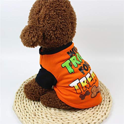 Hund kleidung frühling und sommer cartoon print t-shirt halloween kleider -F M