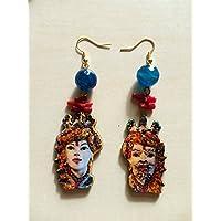 regalo di natale orecchini teste di moro ceramica di caltagirone sicilia barocchi eleganti radice di corallo pietre dure agata sfaccettata blu perle