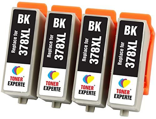 TONER EXPERTE® 4 XL Schwarz Druckerpatronen kompatibel für Epson 378XL 378 XL Expression Photo XP-8500 XP-8505 HD XP-15000 XP-8000 XP-8005 | hohe Kapazität