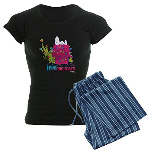 CafePress Snoopy: Home for The Holiday Damen-PJs - Blau - Medium