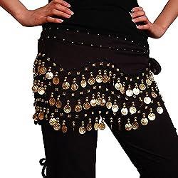 Sorella'z 3 Row Golden Coin Chain Belly Dance Sacrf Belt for Girl's