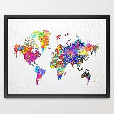 Dignovel Studios A3 WORLD Map Poster watercolour Print Wedding Gift