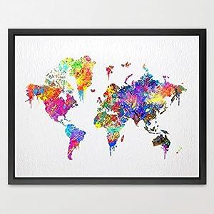 dignovel Studios Póster de mapa del mundo acuarela impresión regalo de bodas para niños pared arte niños decoración del hogar de impresión de acuarela Kids Arte colgante de pared regalo de cumpleaños n087-unframed