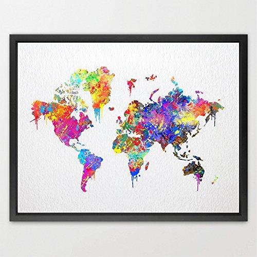 dignovel Studios Mappa del mondo Poster acquerello stampa regalo di nozze da parete per bambini Bambini acquerello stampa home decor Bambini Art Wall Hanging regalo di compleanno n087-unframed