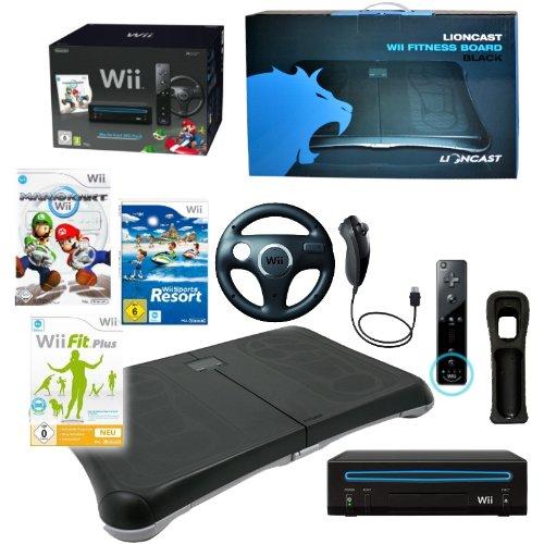 NINTENDO Wii Konsole schwarz, Mario Kart mit Lenkrad + Balance Board mit Spiel Wii Fit Plus (mit über 60 Fitness Übungen) Wii Sports Resort (12 Sport Spiele) Nintendo Remote Plus und Nunchuk Controller