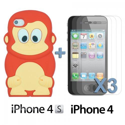 OBiDi - 3D Singe Coque en Silicone / Housse pour Apple iPhone 4S / Apple iPhone 4 - Jaune avec 3 Film de Protection et Stylet Rouge