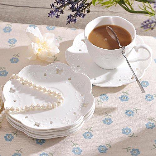 SSBY En relief la tasse à café en céramique avec boule de papillon dentelle coupe, des bureau blanc tasses et des soucoupes pour tasse à café