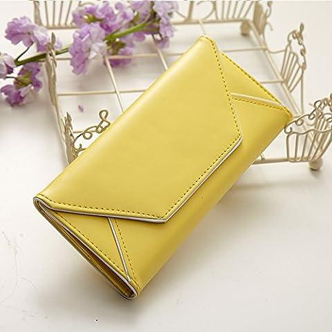 La versión coreana de la envolvente de la moda señoras monedero monedero de cremallera grande alrededor de señoras carteras ,Boxer-amarillo
