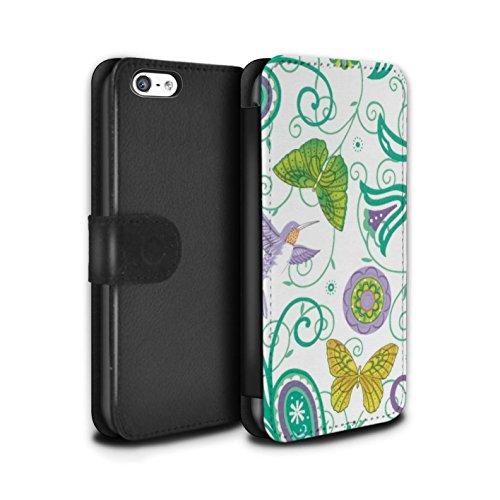 Stuff4 Coque/Etui/Housse Cuir PU Case/Cover pour Apple iPhone 5C / Vert/Blanc Design / Printemps Collection Jaune/Blanc