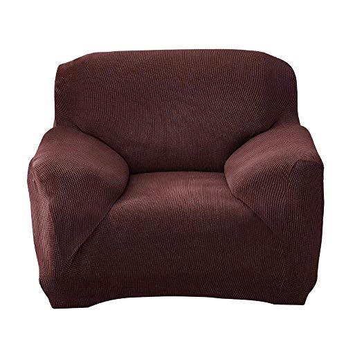Yosmy copripoltrona copertura del divano, 1 posto 90-140cm poliestere elasticizzato elastico universale sofa cover per casa decorativa (caffè, 1 posto 90-140cm velluto a maglia)