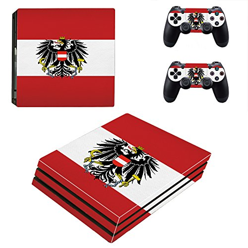 Playstation 4 Pro Konsole + 2 Controller Design Schutzfolie Skin Faceplates Schutz Folie Motiv Österreich ( Herstellung in Deutschland )