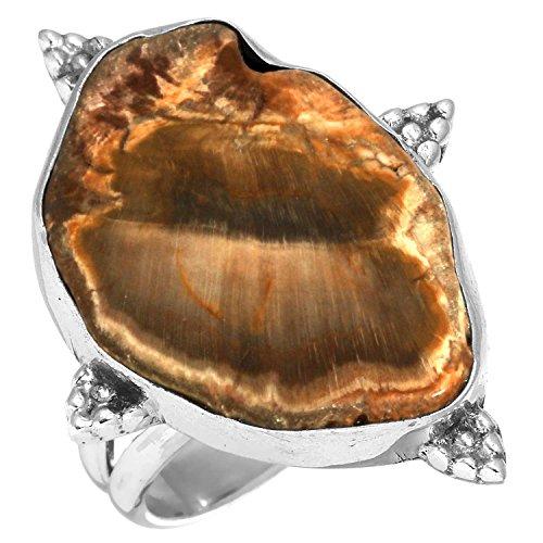 Hampton Holz (Solide 925 Sterling Silber Moderne Schmuck Natürliche Utah Versteinert Holz-Hampton Butte Edelstein Ring Größe 54 (17.2))