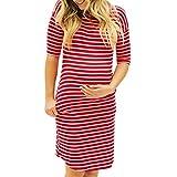 Elecenty Damen Umstandskleidung Sommerkleid,Frauen Streifen Kleid Umstandskleid Taschen Schwangerschaftskleid Rundhals Umstandsmode Kurzarm Umstandskleid Bodycon Knielang Kleidung (S, Rot)