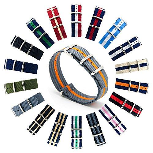 CIVO Cinturini NATO Premium Balistico Nylon Cinturino Cinghia Strap con Fibbia in Acciaio inox 22 Millimetri 18 Millimetri 20 Millimetri (Smoke Grey/Pumpkin, 22mm)