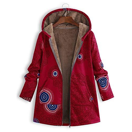 iHENGH Damen Winter Jacke Dicker Warm Bequem Slim Parka Mantel Lässig Mode Reißverschluss Frauen Outwear Print Mit Kapuze Taschen Vintage Oversize(Rot, M) -