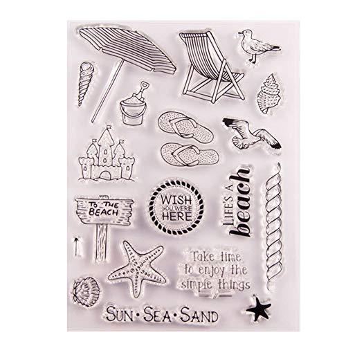 Enjoy The Simple Things Stempel mit Seesand, transparent, Gummi, Stempel, Scrapbook/Foto, Dekoration, zum Basteln von Karten (Gummi-stempel Sonne)