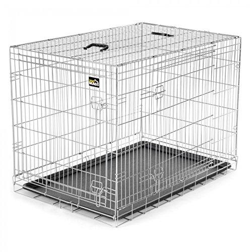 zoomundo XL Cage Pliante en Métal avec 2 Portes pour Chien Cage Box de Transport Animaux Chiots Pliable
