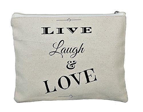 tsgeschenk Geschenk Hochzeit Hochzeitsgast Kosmetiktasche MakeUp Tasche Täschchen Taschentücher Freunde Leben Liebe Lachen Live Laugh Love (Brautjungfer-geschenk-tasche Ideen)
