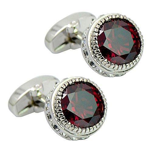 Daptsy Luxus runde rote Kristallmanschettenknöpfe, Strass Wal zurück Manschettenknöpfe, elegant glänzende Manschettenknöpfe graviert