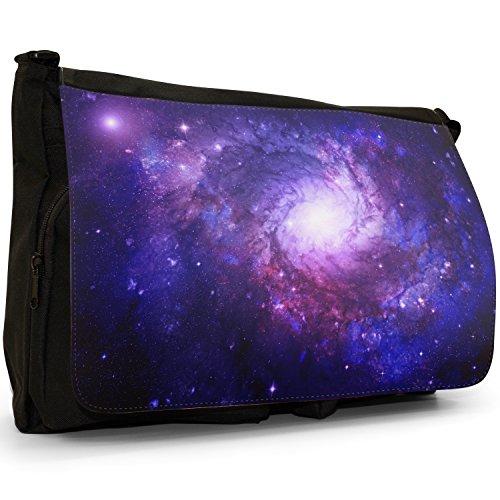Fancy A Snuggle Space Exploration grande nero messenger a tracolla in tela-scuola/borsa per computer portatile, Nero (Swirling Stars Nebula), L