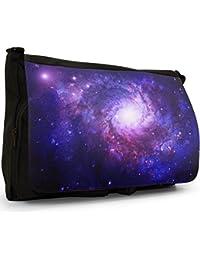 Preisvergleich für Erforschung des Weltraums Große Messenger- / Laptop- / Schultasche Schultertasche aus schwarzem Canvas