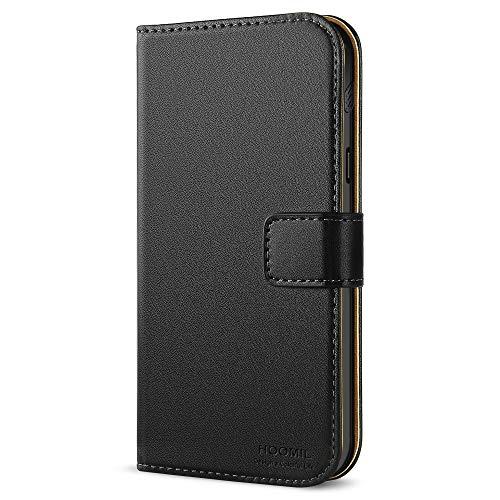HOOMIL Handyhülle für Samsung Galaxy Xcover 4/4s Hülle, Premium PU Leder Flip Schutzhülle für Samsung Galaxy Xcover 4/4s Tasche, Schwarz