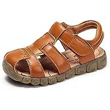 AILEESE Sandalias Planas de Playa con Zapatos de Verano de Cuero de Pescador para Bebés de