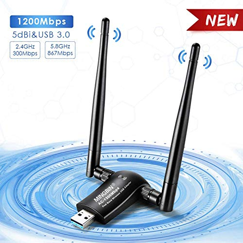 WiFi USB Adaptador,1200mbps Antera Receptor WiFi Dongle