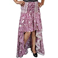 Womens Pink High Low Skirt Swing Asymmetrical Tiered Boho Belly Dance Skirts