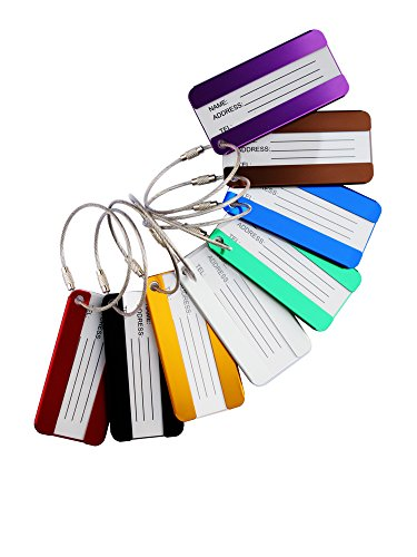 FunYoung™ Metall Kofferanhänger Gepäckanhänger Kofferschild mit Adressschild 8 Stück in Set (8 Stück Set)