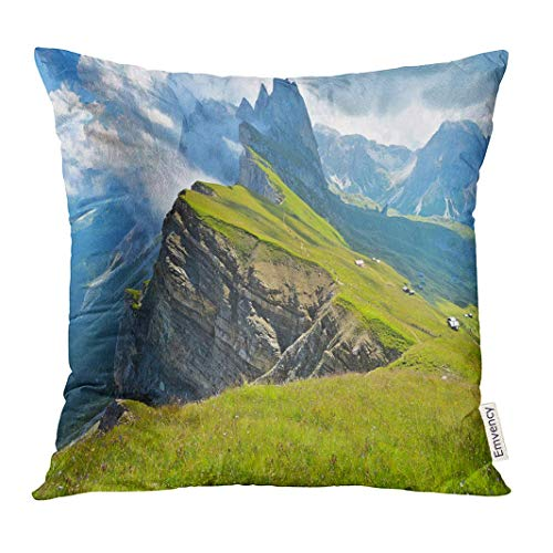 Throw Pillow Cover Odle Mountains Chain Separating The Funes Valley from Gardena Taken Seceda Refuge Italian Alps Dekorative Kissenbezug Home Decor Square 18 x 18 Zoll Kissenbezug - Spa-square-kissen