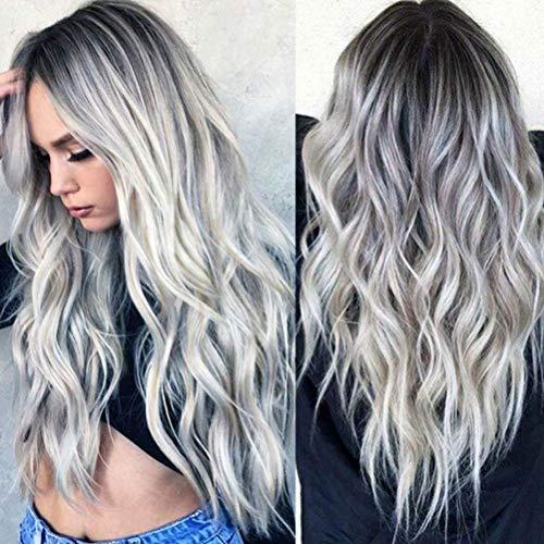 LIDIWEE Frauen lange gewellte Haare Perücke Silber dunkelgrau synthetische Lace Front Perücken Party