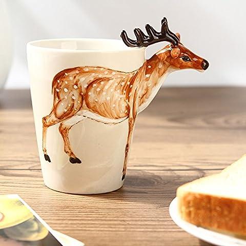 XQXRegali di coppia creativa di ceramica animali di tazza del puro fumetto 3D dipinti a mano in vetro set da t?tazza caff?, cows