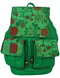 Purse Collection Green Floral Printed Shoulder Bags With 2 Front Pockets For Women'S