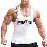 Alivebody Herren Bodybuilding Tank Top Strap Fitness Stringer Achselshirts Weiß L