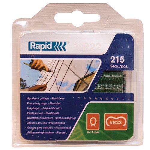 Rapid, 40108802, Agrafes de grillage galvanisées vertes, VR22, 5-11mm, 215 pièces, Haute performance