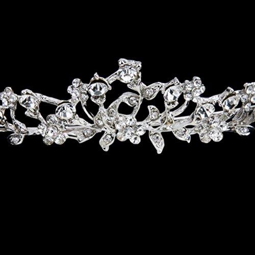 Tiara Corono Banda Diadema Tocado Diamantes de Imitación Flores para Cabeza de Nupcial Boda
