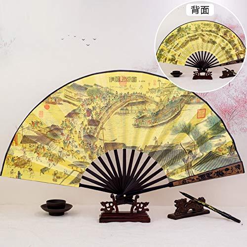XIAOHAIZI Faltfächer Faltender Fan Der Chinesischen Antiken Retro- Männerkleidung Der Männlichen Männer Verzierte Tanzdoppelseitige Faltende Tragbare Große Fan Qingming Shanghe-Karte