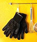 Viktorius Grillhandschuhe hitzebeständig bis 500°C Premium Ofenhandschuhe Extra Lang | BBQ Handschuhe Inklusive Grillzange - 5