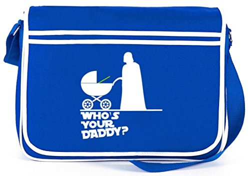 Shirtstreet24, WHO'S YOUR DADDY? Retro Messenger Bag Kuriertasche Umhängetasche Royal Blau