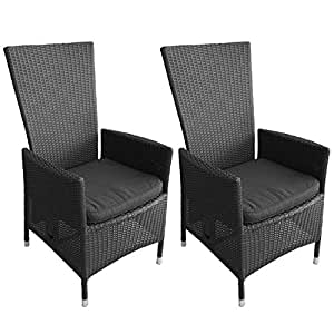 poly rattan gartensessel lea kissen schwarz schwarz 2 st ck gartenm bel. Black Bedroom Furniture Sets. Home Design Ideas