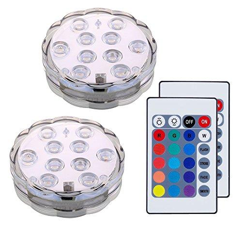 Lifeholder LED Unterwasser Licht, RGB Farbwechselnde und Wasserdichte LED Leuchten mit 2 Fernbedienungen und 6 Batterien, Mutifunktionale Teichbeleuchtung für Aquarium, Schwimmbad, Vase Base, Teich, Festliche Dekoration, Halloween, Weihnachten (2er Pack)