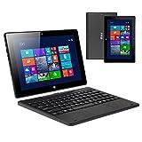 iRULU ordinateur portable 10.1 pouce Windows 10 Intel Quad Core 2 Go/32Go,Résolution 1280* 800 IPS 7000mAh (32G, Noir)