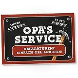 Opa's Service Schild - Süßes Türschild für Opa's Werkstatt