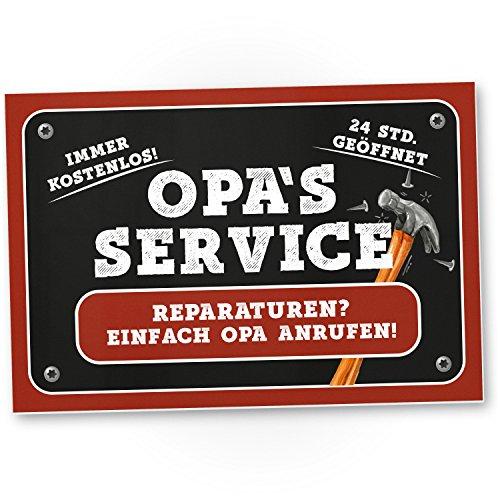 Opa\'s Service Schild (30 x 20 cm) - Süßes Türschild für Opa's Werkstatt, Wanddeko, Geschenkidee Geburtstagsgeschenk für den Opa, Persönliches und süßes Geschenk für den Großvater und die Großeltern