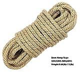 100% corde di canapa naturale Cord LUOOV spessore 6mm e forte iuta corda, Giardino, Nautica, animali, Multi Purpose Utility Sisal Spago Corda