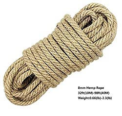 100% Natural Hemp Cord Ropes - LUOOV® 6mm Thickness and Strong Jute Rope Sash,Camping Rope ,Garden, Boating, Tug of war, Pets,Climbing rope,Multi Purpose Utility Sisal Twine Rope,10m(32ft)-40m(128ft) (10m(32ft))