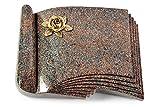 MEMORUM Grabmale Grabbuch, Grabplatte, Grabstein, Grabkissen, Urnengrabstein, Liegegrabstein Modell Prestige 40 x 30 x 8-9 cm Paradiso-Granit, Poliert inkl. Gravur (Bronze-Ornament Rose 4)