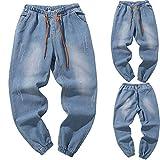 JYJM Herren Loose Jeans Herren Elastischer Gürtel Jeans Herren Elastischer Hosen Jeans Herrenmode Jeans Herren Casual Hosen Herren Große Größen Jeans Herren Trendy Jokers